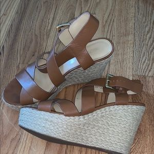 Micheal Kors strapping brown wedges